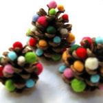 pinecone with pompoms